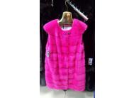 Розовый норковый жилет 90 см